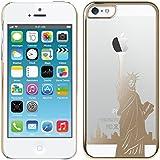 kwmobile Crystal Case Hülle für Apple iPhone SE / 5 / 5S mit Freiheitsstatue Design - transparente Schutzhülle Cover klar in Gold Transparent