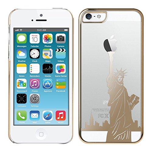 kwmobile Hülle für Apple iPhone SE / 5 / 5S - Crystal Case Handy Schutzhülle Kunststoff - Backcover Cover klar Transparent Freiheitsstatue Gold Transparent