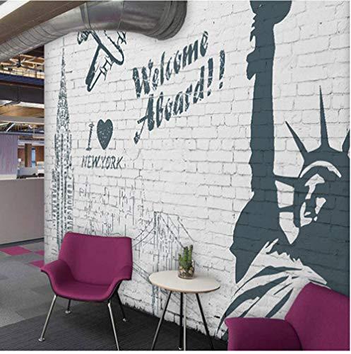Wandbild Benutzerdefinierte Wandbild Tapete Wandmalerei Werbung Willkommen In New York 3D Stroh Wand Papier Bettwäsche Zimmer Sofa TV Hintergrund Leinwand Wandbild 350x250cm -