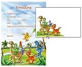 24-teiliges Einladungsset Dinosaurier mit 12 Einladungen und 12 Umschlägen in DIN A5
