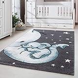 Kinderteppich Kinderzimmer Babyzimmer Niedlicher Elefant Grau Blue Weis Oeko Tex, Maße:160x230 cm