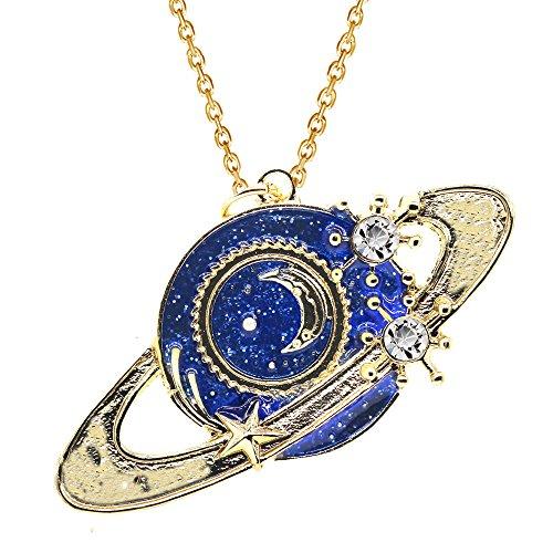 Planet Halskette (Royal Blue Blau Fantasy Collection Gold Frauen Mond das Orbs Planet Anhänger Frauen Halskette n569r)