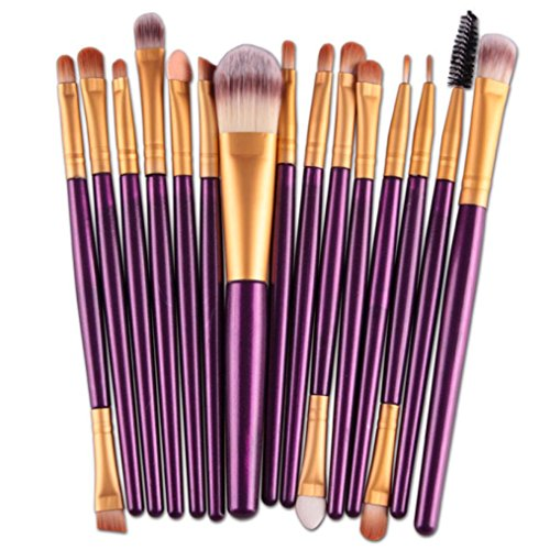 Tonsee 15 pièces / Set Eye Shadow Foundation Sourcils Lip Brush pinceaux de maquillage outils (Violet 2)