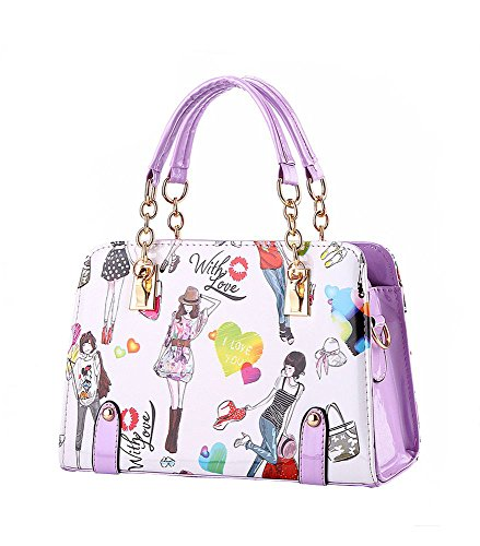 koson-man-womens-cartoon-pu-leather-vintage-tote-bags-top-handle-handbagpurple