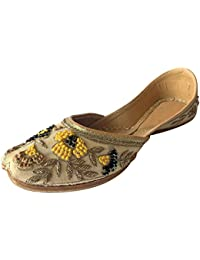 Étape N Chaussures De Style Indien Punjabi De Mariage De Manchon De Support Jutti Chaussures Mojari Khussa, Couleur Or, Taille 37.5