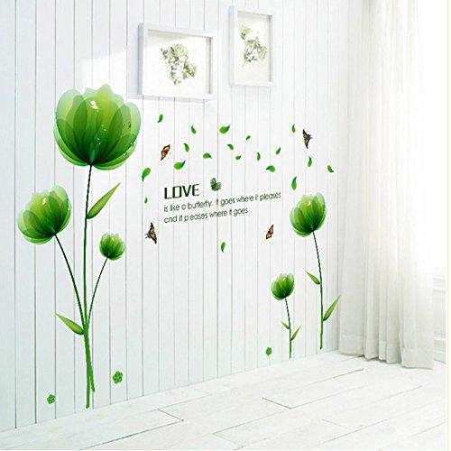 Ufengke® Bella Verde Fiori Adesivi Murali,Camera da Letto Soggiorno ...