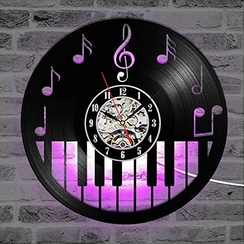 XLBYY Hohle Klavier Tastatur Schallplatte Vinyl Wanduhr 3D 12