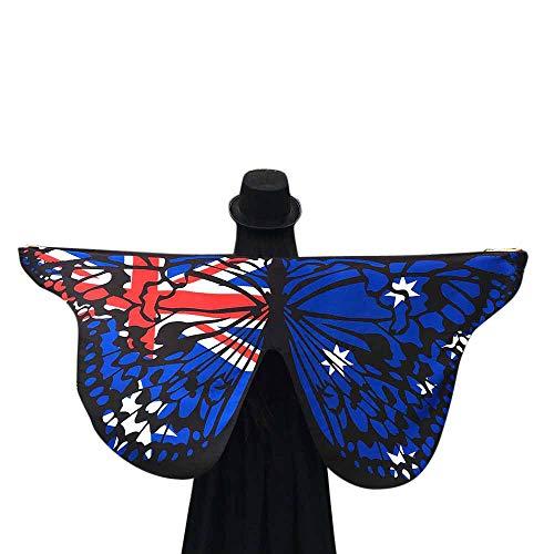WOZOW Damen Schmetterling Flügel Kostüm Nymphe Pixie Umhang Faschingkostüme Schals Poncho Kostümzubehör Zubehör (Blau Australien Flagge) (Zubehör Australien Kostüm)