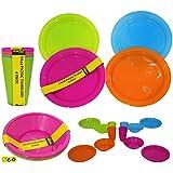 12 pc Picnic Set Bowls Picnic Plates Bright Colour Sets Camping Kids Party Supplies NEW