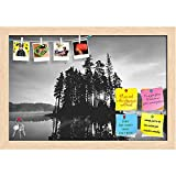 ArtzFolio Reflections Of Lake & Small Island Printed Bulletin Board Notice Pin Board cum Natural Brown Framed Painting 17.6 x 12inch
