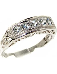 Luxury 925 Solid Sterling Silver Natural Aquamarine Womens Band Ring