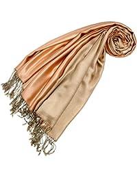 LORENZO CANA Luxus Pashmina Seidentuch Seide Wendeschal Schaltuch 70 x 190 cm zweifarbig Seidenschal Schal Orange Gold 78424