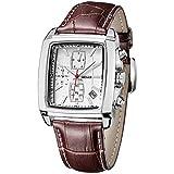 Montre Homme carré - Bracelet Cuir Marron - Quartz Analogique - Vintage Chronographe...