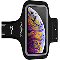 PORTHOLIC Schweißfest Sport Armband Fitness für iPhone X/XS Mit Schlüsselhalter,Kabelfach,Kartenhalter für Laufem,Joggen-Schwarz