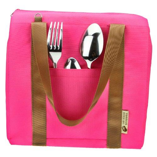 FakeFace Modische Wasserdichte Mittagsessen Tasche Picknicktasche Bento Box Warmhaltung Eistasche Kühltasche Milch Transportieren Thermotasche Picnic Lunch Cooler Ice Bag Camping (Rosa)
