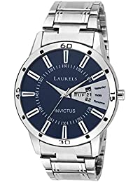 Laurels Essential Blue Dial Day & Date Function Men Watch With Metal Chain- For Men