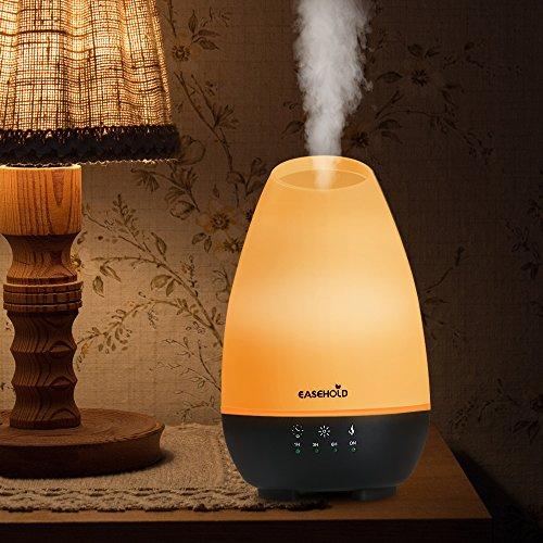 Easehold 500ml diffusore olii essenziali, umidificatore ultrasuoni silenzioso, nebbia fredda, 7 colori led, 4 impostazioni timer, auto spegnimento, per camera,yoga,spa,ufficio- nero