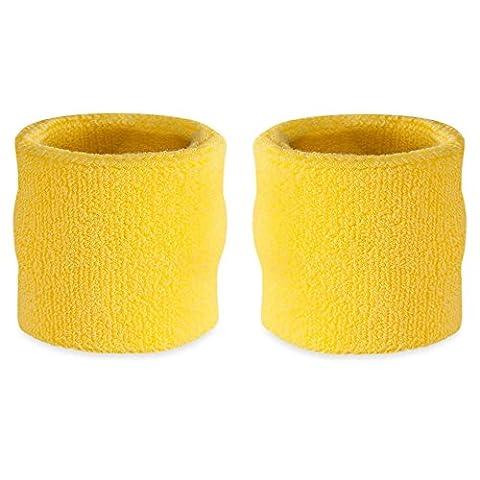 suddora Handgelenk-Schweißband, Baumwoll-Frottee, Armband für Sport, 1 Paar Gelb Neon Gelb