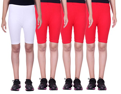 Alisha Stretchable Cycling Shorts - Pack of 4 (WHT_RED_RED_RED_38)