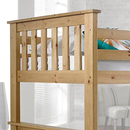 Happy Beds Atlantis Wooden Bunk Bed 3ft Single Solid Pine 2x Mattress Furniture (Pine, 3FT - 2x Spring Mattress)