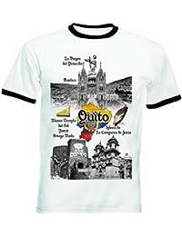 teesquare1st Ecuador Quito Tshirt de Hombre con Bordes Negros T-Shirt