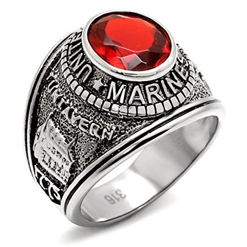 ISADY - US Marines Rubin Edelstahl - Herren-Ring - Edelstahl - Zirkonium Rot - T 70 (22.3) - Herren-marine-ring