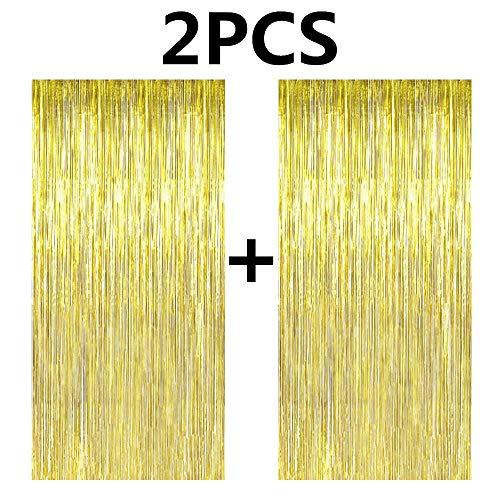 Fecedy - 2 Cortinas de Flecos de Papel de Aluminio metálico Dorado de