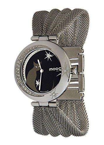 Moog Paris Lucille Montre Femme avec Cadran Noir, Eléments Swarovski, Bracelet Argenté en Acier Inoxydable - M44914-001