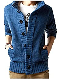 VOGABA Men's Sweaters Cardigan Thick Coat Jersey Korean Slim Casual Jacket