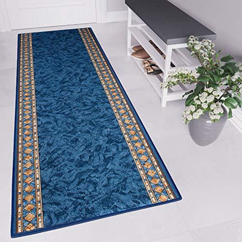 Tapiso agadir tappeto passatoia al metro corridoio cucina da ingresso ufficio blu navy antiscivolo a pelo corto 80 x 250 cm
