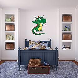 Linda Dragón verde vinilos decorativo Divertido Monstruos adhesivos pegatina pared Guardería Infantil Decoración del hogar Disponible en 8 Tamaños Pequeño Digital