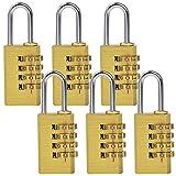 MENGS® 6 Stück MG214 Kombinations Zahlenschloss aus Messing und Stahlbügel mit 4 stelligem ZahlenCode für Taschen, Koffern, Schatullen, Kassetten, Schränken, Spinden, usw.