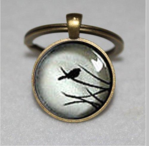 Kleine Post Ohrstecker Vogel Schlüsselanhänger, Weiß Schwarz Nature, Glas Dome  Einzigartige Schlüsselanhänger Key Ring Geschenk  Everyday Schlüsselanhänger Key kette (Post Ohrstecker)