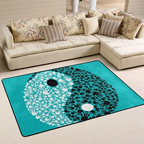 JSTEL Waschbare weiche Yin Yang Human Palm Area Teppiche 90 x 60 cm (2 x 3 Fuß) Wohnzimmerteppich Gemütliche Schlafzimmer Läufer Teppich, Multi, 180 x 120 cm