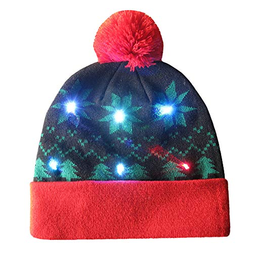 Knitted Ugly Sweater Holiday Xmas Weihnachts-Beanie Illuminated Colorful Lights Christmas Hats LED Festive Hats Fiber-Optic Light Caps ()