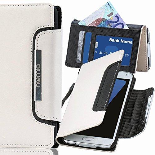 LG L80 Hülle, numia Handyhülle Handy Schutzhülle [Book-Style Handytasche mit Standfunktion und Kartenfach] Pu Leder Tasche für LG L80 Case Cover [Weiss-Schwarz] (Handy-l80)