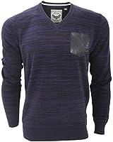 Brave Soul Mens Sulu Space Dye Knitted V Neck Sweater/Jumper