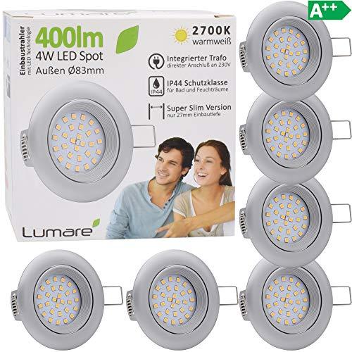 Lumare Foco LED empotrable (4W, 400 lúmenes, IP44, extraplano, solo 27 mm...