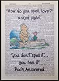 Winnie The Pooh Quote Print Vintage Dictionary Page Picture Wall Art Love Cute