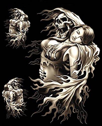 Hells-Design 3adesivi Skull Teschio Faucheuse Lady