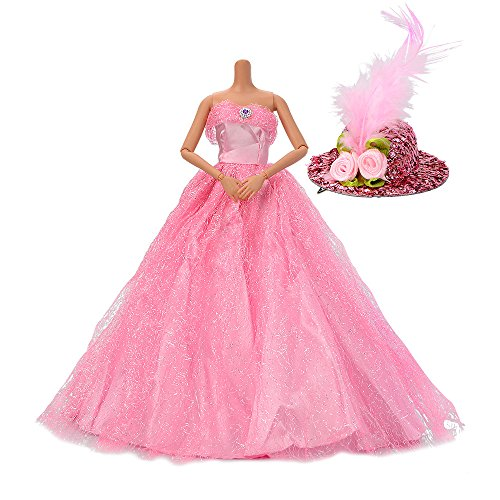 ASIV Premium Hecho Mano Moda Brillante Vestidos de Novia de Princesa Ropa Vestido para Barbie con Sombrero de Plumas Color de Rosa