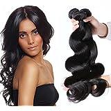 """Puddinghair 100% sin procesar extensiones virginales brasileñas del pelo humano 3 manojos negro natural onda del cuerpo (30""""30""""30"""")"""