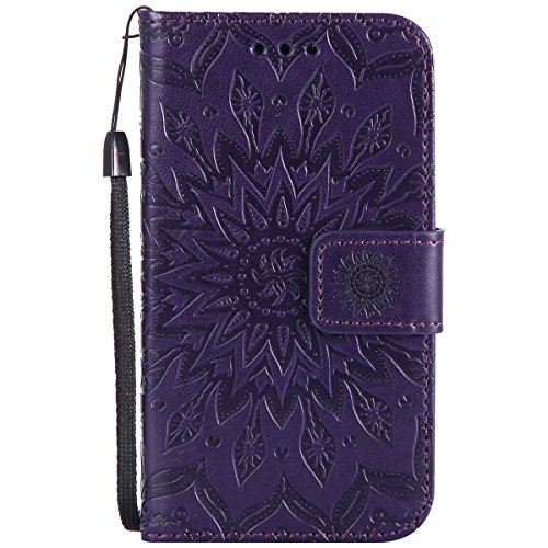 Kompatibel mit Handyhülle Galaxy Core Prime Leder Tasche Schutzhülle Handy Tasche Mandala Blumen Muster Book Case Leder Hülle Kunstleder Cover Klapphülle Flip Case Magnetverschluss,Lila