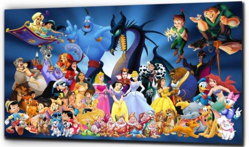 "Stampe su tela simipour, motivo Disney personaggi, nero/bianco, 20"" x 24"""