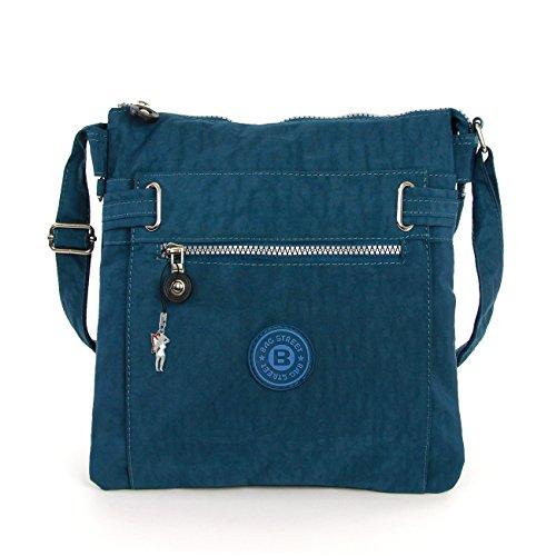 Hanf Messenger Tasche (Bag Street Tasche Damen Umhängetasche blau/ petrol Nylon-Damenhandtasche mit Fee-Anhänger OTJ207T)