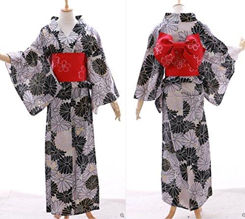 Kawaii-Story K-030 schwarz grau Kamille Gold Glitzer Blumen ORIGINAL traditionell Japan Damen Kimono Yukata Obi Gürtel Baumwolle -