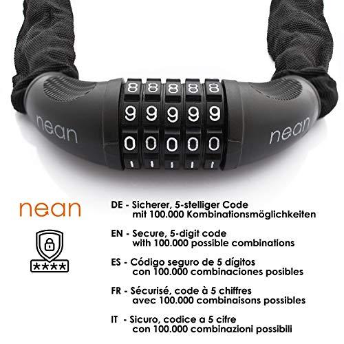 nean Fahrrad-Ketten-Schloss, Zahlen-Code-Kombination-Schloss, Stahlkettenglieder, schwarz, 6 mm x 900 mm - 4
