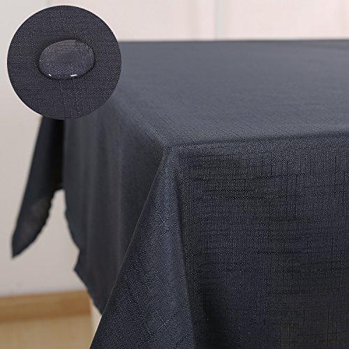 Deconovo Tischdecke Leinenoptik Lotuseffekt Tischwäsche Wasserabweisend Tischtuch 140x200 cm Dunkelgrau