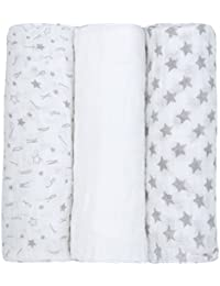 Newborn Baby Muslin Cloth Squares (3 Pack 76x76cm) 100% Cotton Swaddle Blanket For Boys & Girls