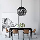 Lampe suspendue ajourée Lustre Tete Simple Lampe sculptée en fer forgé pour salle à manger (Noir, 20cm)...